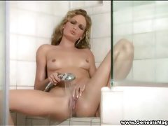 Tiny titted blonde goddess masturbating in the shower tubes