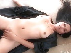 Saucy raven haired goddess spreads her pussy wide tubes