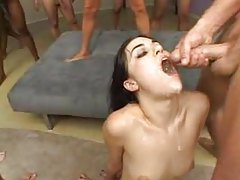 Sasha Grey takes tons of cumshots in her mouth tubes