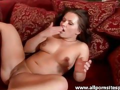 Pretty brunette babe getting face fucked then drilled tubes
