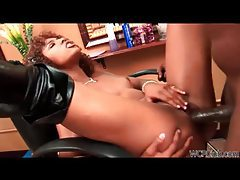 Glamorous ebony minx with cute curly hair rides black cock tubes