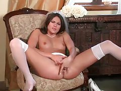 Bride fingers pussy in stockings tubes