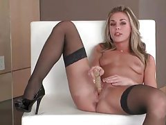Flawless young hottie in stockings toy fucks her pussy tubes