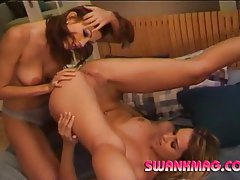 Horny lesbians strip each other down then use dildo tubes