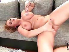 Busty blonde babe using her toys for pleasure tubes