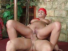 Tight bodied Latina milf with bandana getting slammed tubes
