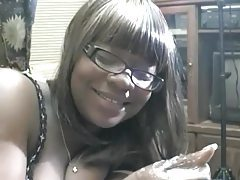Chubby ebony with glasses sucking cock for jizz tubes