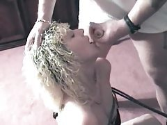 Hogtied duo sucking on their masters cock tubes