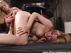 Blonde lesbian duo enjoying girl on girl action tubes