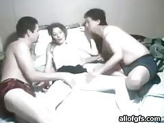 Naughty amateur getting groped by two horny guys tubes
