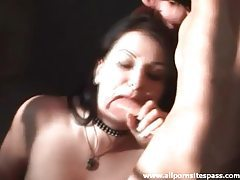 Goth chick in boots and stockings sucks cock tubes