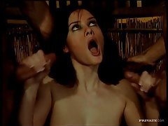 DP sex and cumshots on her tits tubes