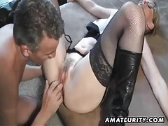 Hot amateur Milf sucks and fucks with cumshot on pussy tubes