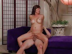 Classy milf with fake tits takes cum on tits tubes