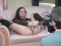 Brunette porn beauty Silvia Saint toys her vagina tubes