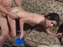 She licks his semen out of a bowl tubes