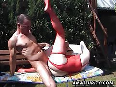 Chubby amateur Milf sucks and fucks in the backyard tubes