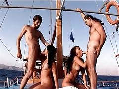 Group sex on boat with Euro babes tubes