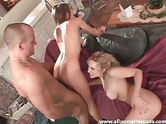 Big dick opens up two naughty girls tubes