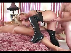 Double penetration in a corset stockings and boots tubes