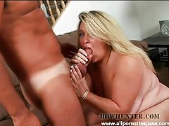 Naughty blonde BBW enjoys sucking on horny guys cock tubes