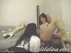 Two amateur Latina ladies using their saucy toys tubes
