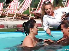 Catfight with clothed girls in the pool tubes