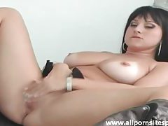 Delicious looking raven haired babe with huge jugs riding cock tubes