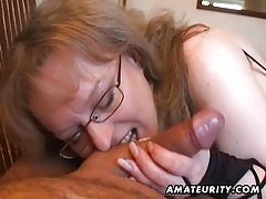Busty amateur wife handjob and blowjob with cum in mouth tubes