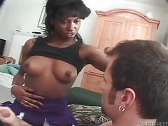 Horny ebony vixen enjoying a thick white dick tube