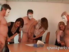 Lucky men with masks get their cocks stroked by sensual ladies tubes