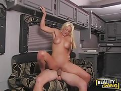 Gorgeous bleach blonde with big tits boned in RV tubes