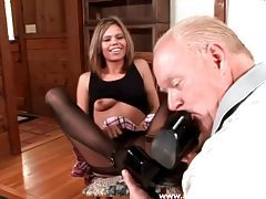 Old guy worships her feet in stockings tubes