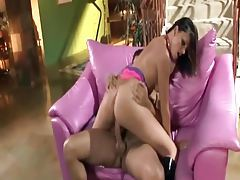 Skinny brunette fucked in boots and a fishnet top tubes