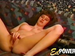 First timer strips from satin and rubs her clit tubes