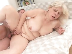 Saucy granny with blonde hairy getting pumped tubes