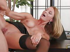 His cock unloads all over her face tubes