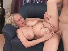 Plump granny with big tits pleasuring younger man tubes