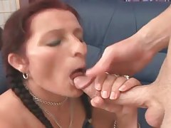 Mature minx with pigtails bouncing on big shaft tubes