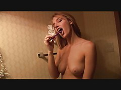 Brushing her teeth topless to arouse tubes