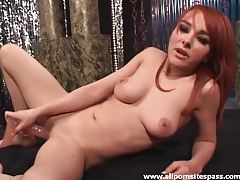 Redhead strips from lingerie to toy her pussy tubes