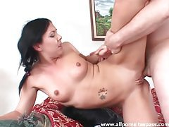 Shaved pussy girl fucked in the butt tubes