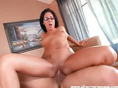 Shaved girl in glasses atop his cock tubes