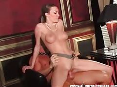 Stunningly good looking woman rides dick tubes