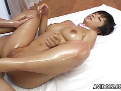 Nasty oiled up Meguru Kosaka hot double fuck tubes