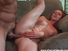Redheaded cutie fucked up the tight ass tubes
