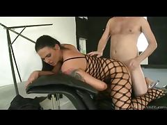 Bitch in slutty body stocking fucked by two dicks tubes