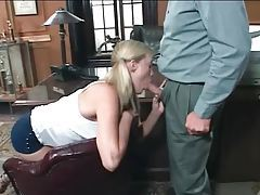 Schoolgirl blows the old man tubes