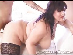 Beautiful fat girl filled with big cock tubes