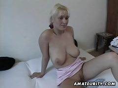 Busty amateur Milf toys and sucks with facial cumshot tubes